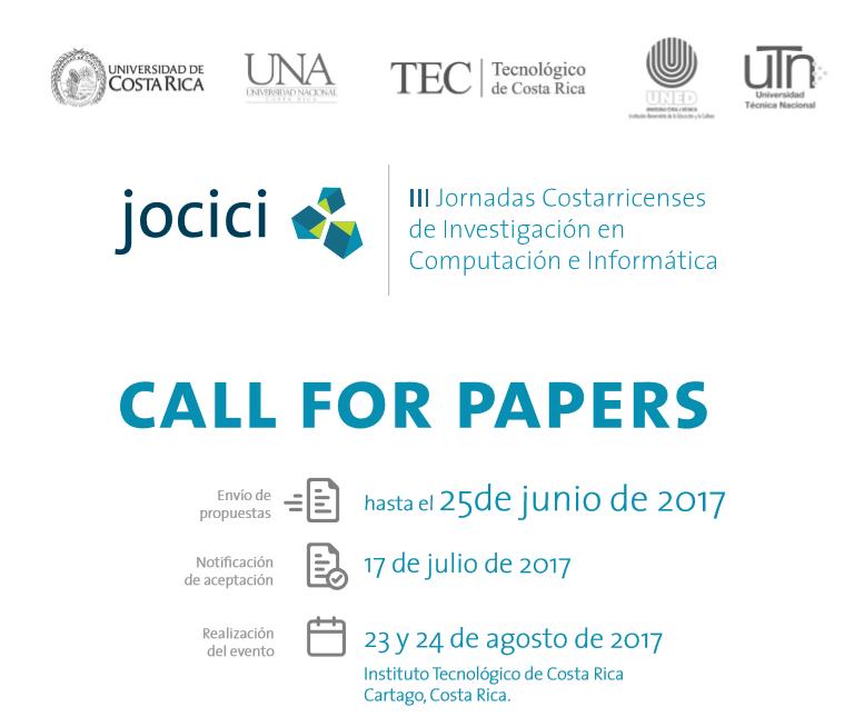 Imagen con información del Llamado a presentar trabajos para las Jornadas JoCICI 2017
