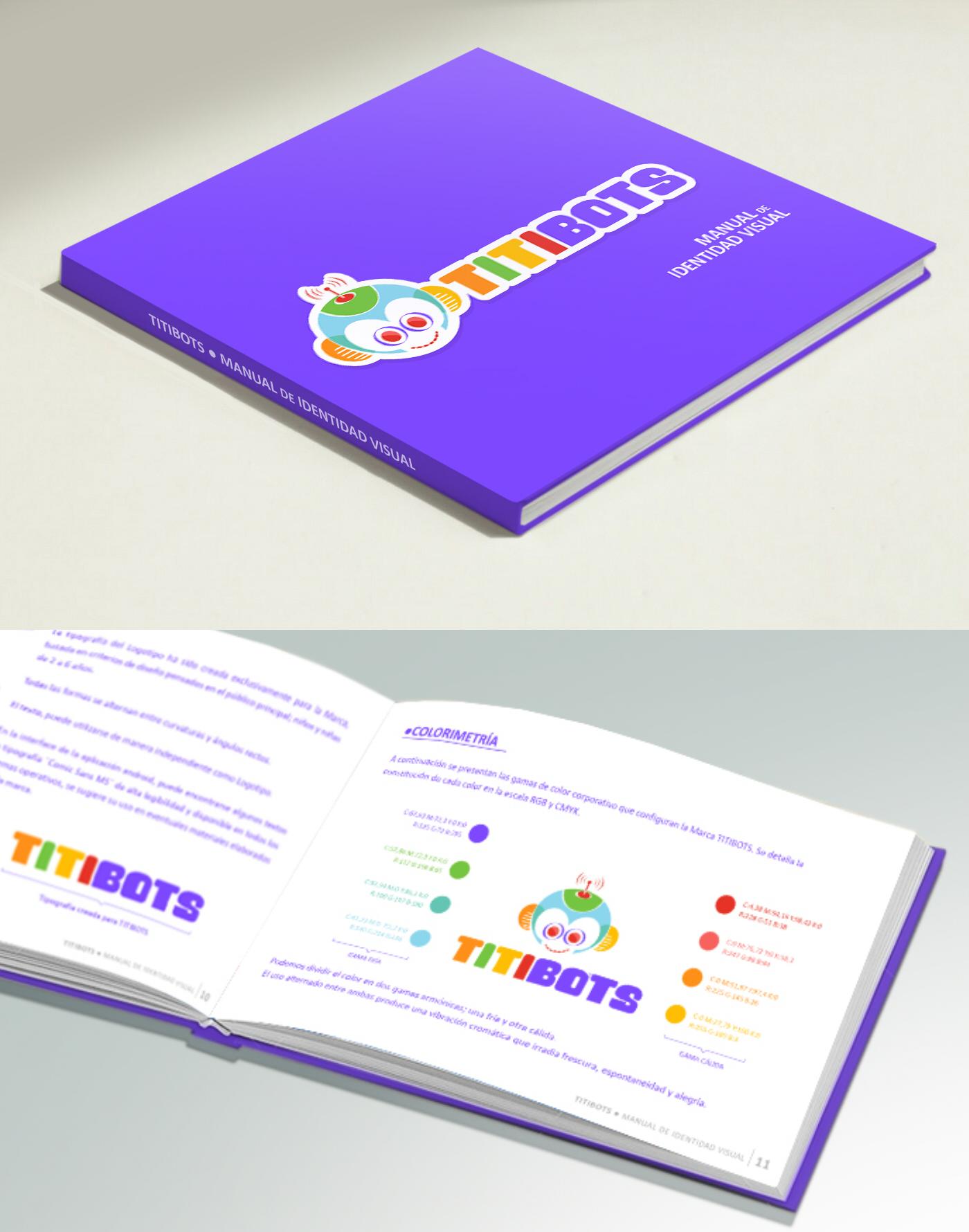 Fotografía del Manual de identidad visual del Proyecto TITIBOTS